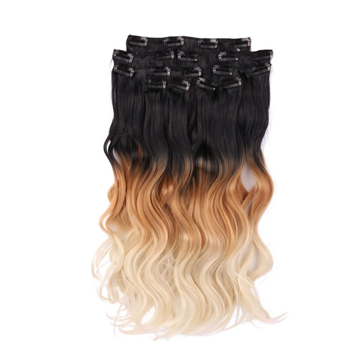 Clip in hair extensions 1b27613 natural black to bleach blonde 3 clip in hair extensions 1b27613 natural black to bleach blonde 3 tone ombre color body wave synthetic hair 8 pieces 18 inch for a full head pmusecretfo Gallery