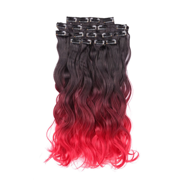 1bbugred Natural Black To Red Ombre Clip In Hair Extensions Body