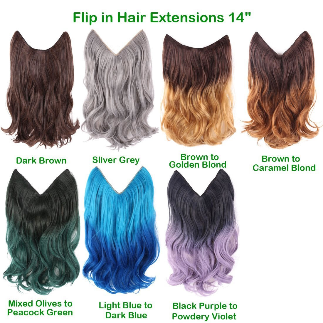 Light Blue To Dark Blue Ombre Color 14 Flip In Hair Extensions
