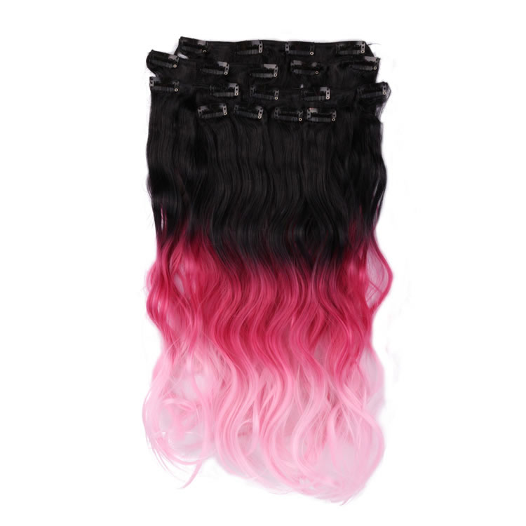 Natural Black To Red To Pale Pink 3 Tone Ombre Color Wavy Clip In
