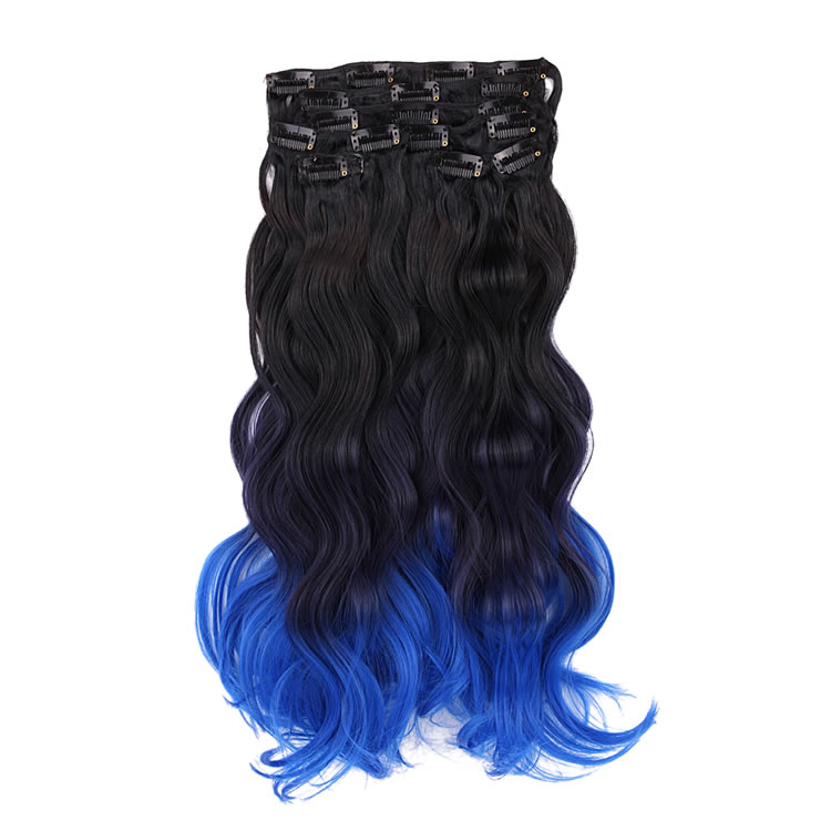 Clip In Hair Extensions 8 Pieces 18 Inch Natural Black To Hyacinth