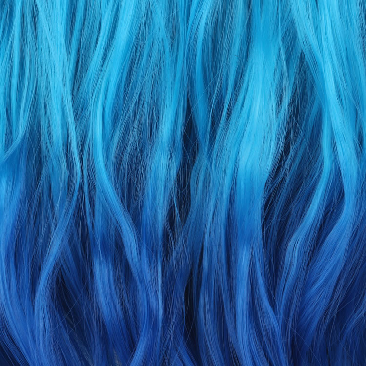 Light Blue To Dark Ombre Color 14 Flip In Hair Extensions Synthetic Natural Wavy Hairpieces 100g