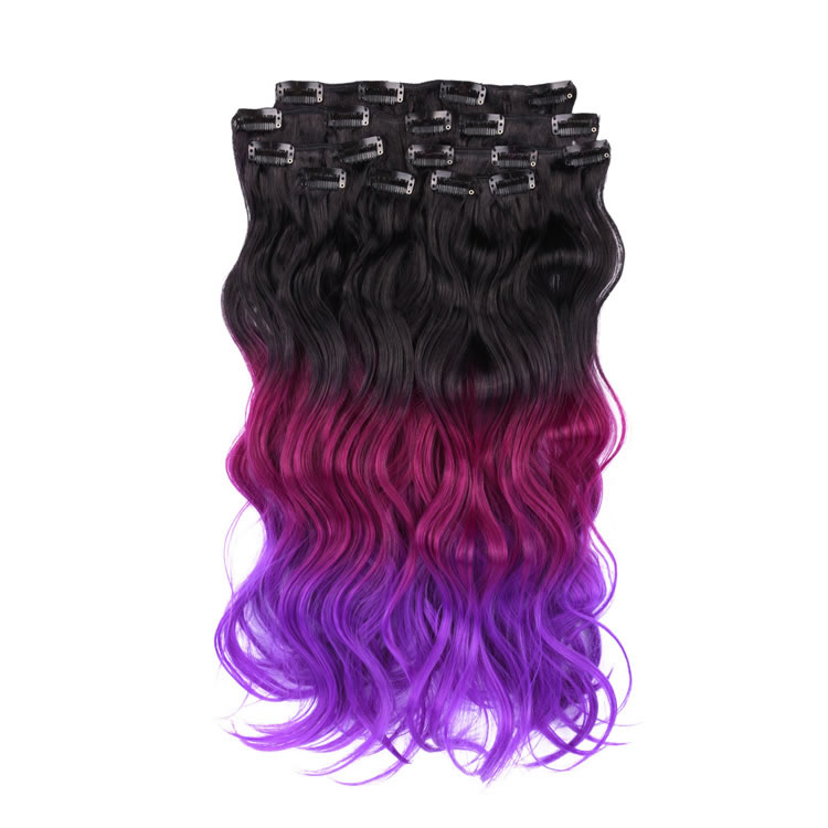 Clip In Hair Extensions 8 Pieces 18 Inch Natural Black To Fuchsia To