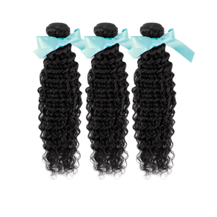 Virgin Peruvian Remy Hair Extensions Deep Curly 3 Bundles 16 Inch