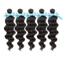 Virgin Peruvian Hair Loose Wave Hair 5 Bundles 12inch to 26inch Natural Black 500g