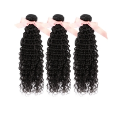 Deep Curly Malaysian Virgin Remy Hair Extensions 16 Inch to 28 Inch Natural Black 300g