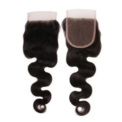 6A PREPLUCKED Virgin Indian Body Wave Lace Closures 4x4 Free Part With Front Baby Hair 8-20 Inch Natural Black