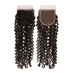 6A PREPLUCKED Indian Virgin Hair Deep Curly 4x4 Free Part Lace Top Closures 8-20 Inch Natural Black
