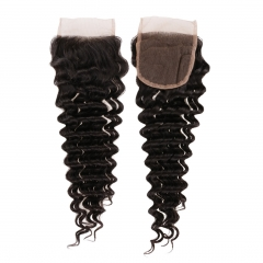 6A PREPLUCKED Virgin Indian Hair Deep Wave 4x4 Free Part Lace Top Closures 8-20 Inch Natural Black