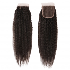 6A PREPLUCKED Indian Virgin Hair Kinky Straight 4x4 Free Part Lace Top Closures 8-20 Inch Natural Black