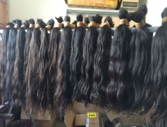 100% Unprocessed No Washed Brazilian Raw Hair Bulk Material 15 Inch To 24 Inch 1kg Wholesale Price Natural Black