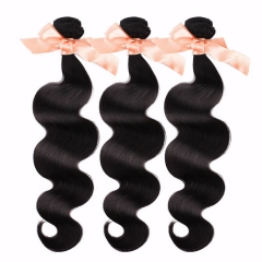 3 Bundles Malaysian Virgin Remy Hair Extensions BodWave Hair 12-28 inch 300g Natural Black
