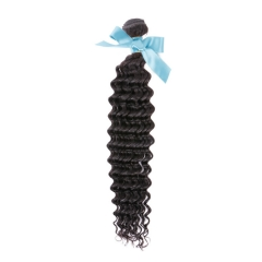 Peruvian Virgin Remy Hair Extensions Deep Wave Hair 12 Inch - 26 Inch Natural Black 100g