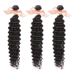 Malaysian Deep Wave Virgin Remy Hair Extensions 12 Inch to 28 Inch Natural Black 100g