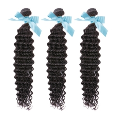 Peruvian Hair Virgin Remy Extensions Deep Wave 3 Bundles 12Inch - 26 Inch Natural Black 300g