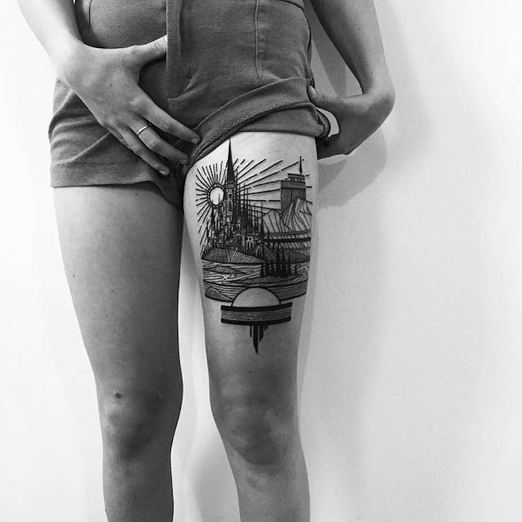 Architectural-Tattoo-Done-By-Thieves-Of-Towers-2