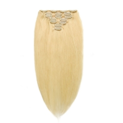 【Grade 10A】7pcs 110g Brazilian Clip in Hair #613 Blonde Straight Hair 14inch To 24 inch