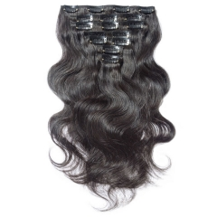【Grade 8A】7pcs 110g Brazilian Virgin Bodywave Hair Clip in Natural Hair Extensions Natural Black 14inch To 24 inch