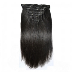 【Grade 8A】7pcs 110g Brazilian Virgin Straight Clip in Hair Natural Black 14inch To 24 inch