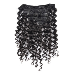 【Grade 8A】7pcs 110g Brazilian Virgin Deepwave Hair Clip in Natural Hair Extension Natural Black 14 inch To 24 inch