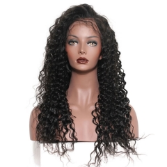 8A African American Brazilian Virgin Hair 360 Lace Frontal Wigs Cheap Real Human 360 Lace Wig Deep Wave 350g