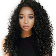 8A African American Brazilian Virgin Hair 360 Lace Frontal Wigs Cheap Real Human 360 Lace Wig Deep Wave 250g