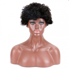 Short Curly Brazilian Remy Hair Wigs For Women custom Wigs #1B Wig Human Hair HW2004
