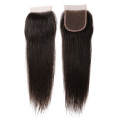 6A PREPLUCKED Vrigin Indian Lace Closure Straight Remy Hair 4*4  Free Part With Baby Hair Natural Black