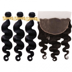10A Human Brazilian Hair With Lace Fontal 13X6 Top Quality Wholesale Straight Virgin Hair 3 Bundles With One Frontal